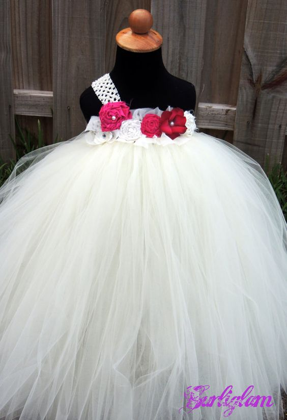 Ivory Fuschia flower girl tutu dress Flower girl by gurliglam, $92.00