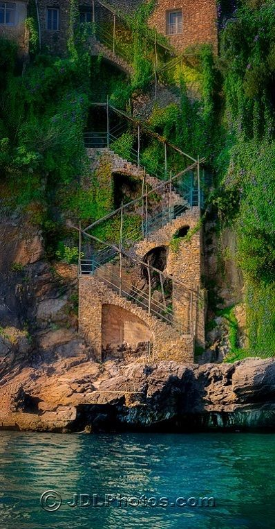 Stairway to the Sea on the Amalfi Coast ~ A beautiful stretch of coastline on the southern coast of the Sorrentine Peninsula in the Province of Salerno in Southern Italy.