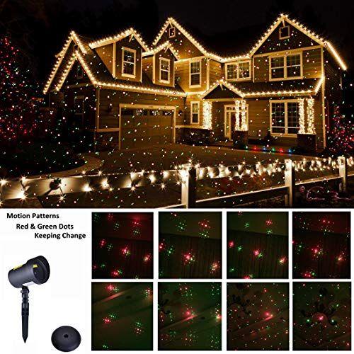 Christmas Laser Lights Ip65 Waterproof Outdoor Laser Light Projector Red Green Moving Star Pattern Xmas Laser Garden Decorator Motion Lighting Show For Hall Christmas Light Installation Decorating With Christmas Lights
