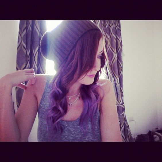 ... Extensions in Short Hair: Hats and Buns - Dip Dye Purple Halo Hair