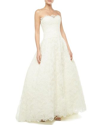 Strapless Lace Bridal Gown Ivory By Theia At Neiman