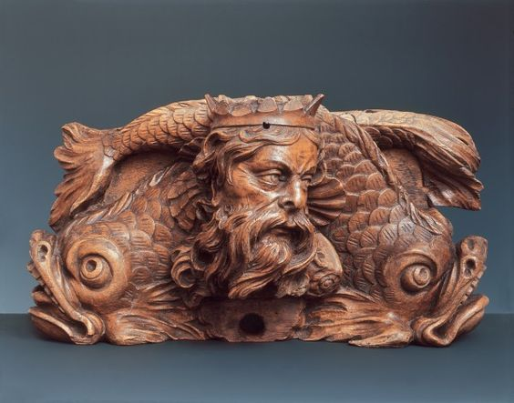 Two carved nogs for barrels, Rhenus and Basilea  Attributed to Johann Christian Frisch, Basle, ca. 1680  Carved walnut: