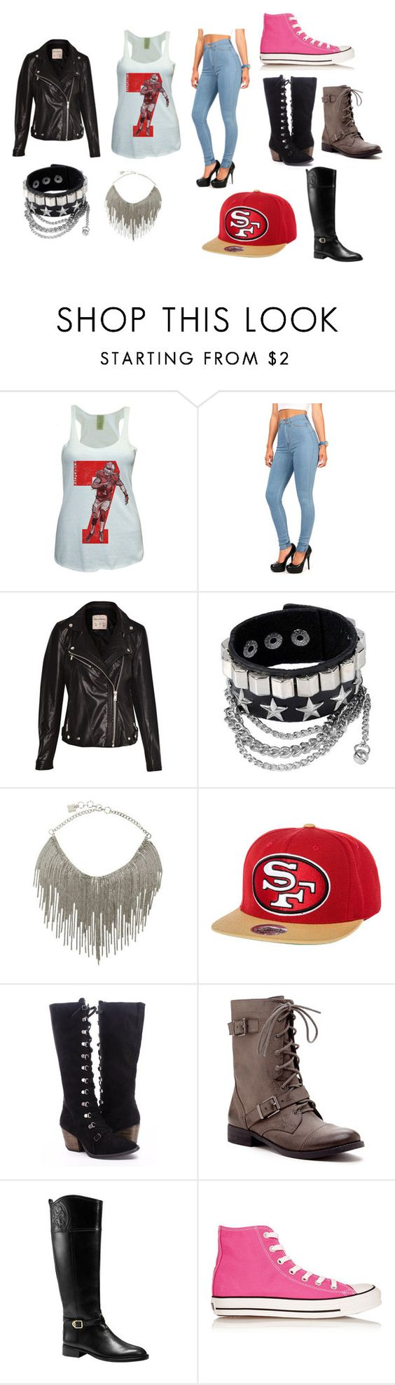 """49ers Outfit #1"" by azariaheady ❤ liked on Polyvore featuring Pull&Bear, BCBGMAXAZRIA, Mitchell & Ness, Sole Society, Tory Burch, Converse, women's clothing, women, female and woman"