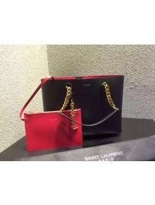 Saint Laurent 372090  Tote Bag In Black/Red Leather