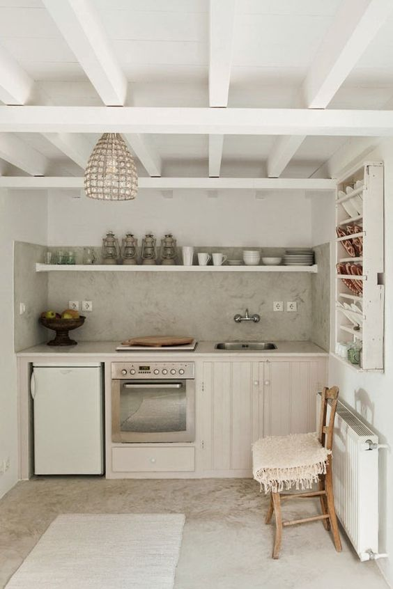 Claire Lloyd/Greek kitchen/bohemian/vintage/rustic/island/farmhouse/European/shabby chic/open shelves/tiny kitchen