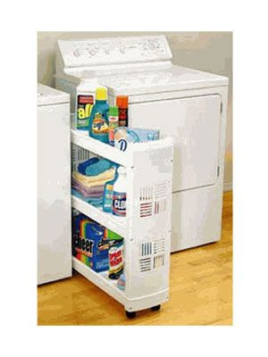 Rolling Laundry Organizer between the sink and tub in bathroom: