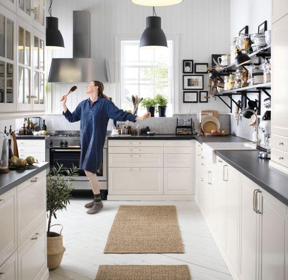 White kitchen with black details from the IKEA 2017 Catalog Home - ikea küchen katalog