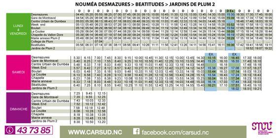 Ligne D : Mont Dore Béatitudes - Nouméa Desmazures   Carsud, réseau suburbain en Nouvelle-Calédonie