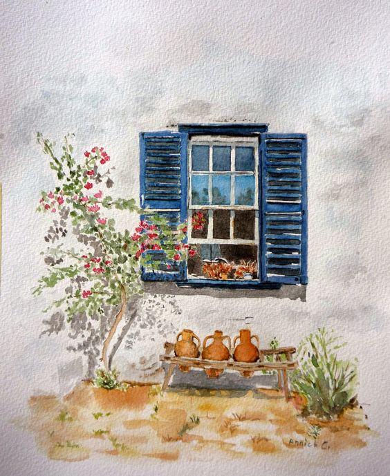 Aquarelle une fen tre aux bal ares aquarelles for Fenetre marchand