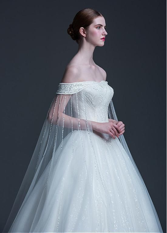 Eye-catching Tulle & Sequin Tulle Off-the-shoulder Neckline Ball Gown Wedding Dress