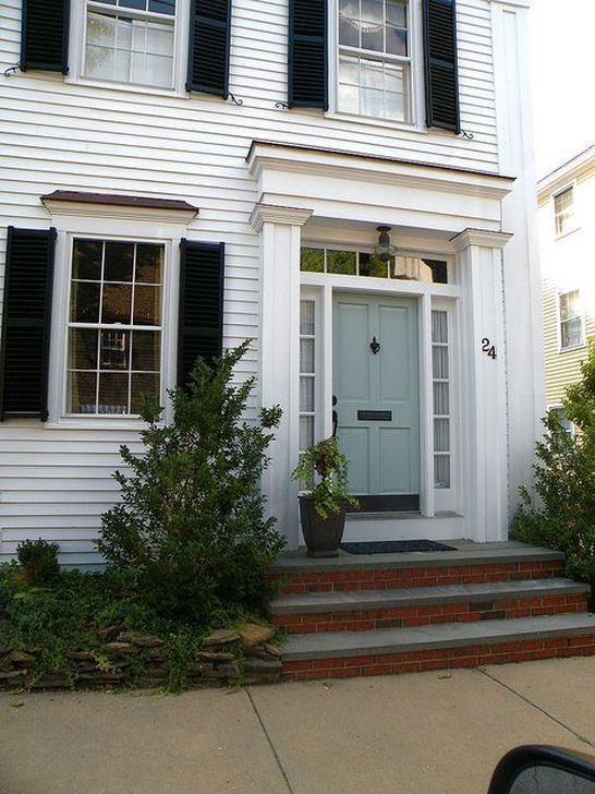 99 Outstanding Colorful Door Ideas For House House Exterior Blue White Exterior Houses White House Black Shutters