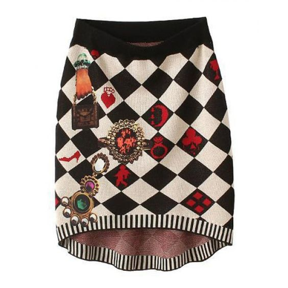 Trendy Style High Waisted Checked Pattern Patch Design Knit Women's Skirt, AS THE PICTURE, M in Skirts | DressLily.com