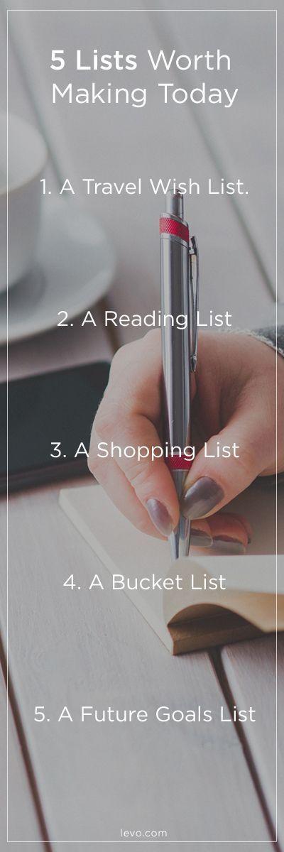 5 lists to make NOW / www.levo.com: