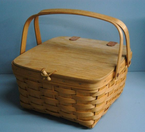 Wooden Picnic Basket Set : Longaberger woven wooden small picnic basket with lid and