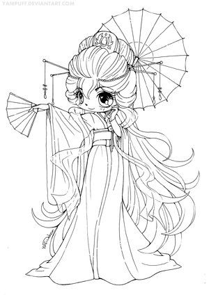 Magnificent Kimono Chibi Lineart CONTEST by YamPuff on