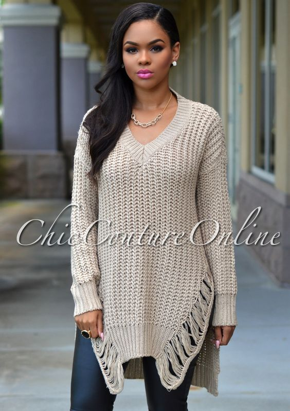Olive Long Sleeve Shredded Sweater Dress   SosBoutique.net