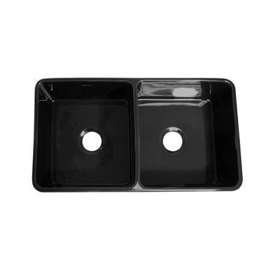 Whitehaus Collection Farmhaus Fireclay Duet Reversible Double Bowl Kitchen Sink Finish: