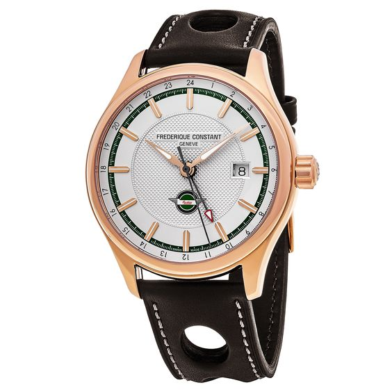 Frederique Constant Men's FC-350HVG5B4 'Healey' Dial Brown Strap GMT Swiss Automatic Watch