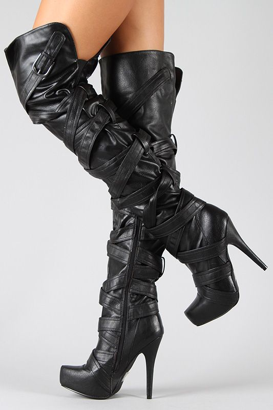 Thigh High High Heel Boots - Cr Boot
