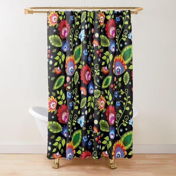 Polish Folklore Beautiful Composition On Black Shower Curtain By Fk Uk In 2020 Black Shower Curtains Black Shower Vintage Industrial Furniture