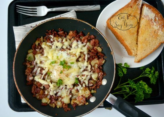 Corned Beef Hash with egg and aged white cheddar 960