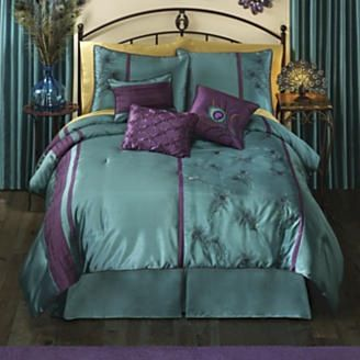 Deep Teal W Dark Plum Accents Peacock Colors Bedding