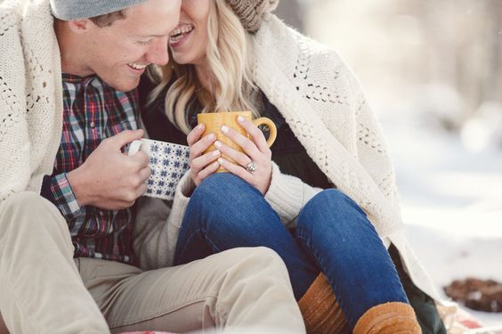 engagement session in the snow | winter photo shoot | engaged | hot chocolate | boots | hipster engagement shoot Photos by Erin DeZago Photography