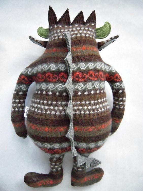 Monster Stuffed Animal Striped Wool Sweater by sweetpoppycat
