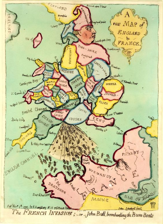 A New Map of England and France: The French Invasion - or - John Bull bombarding…