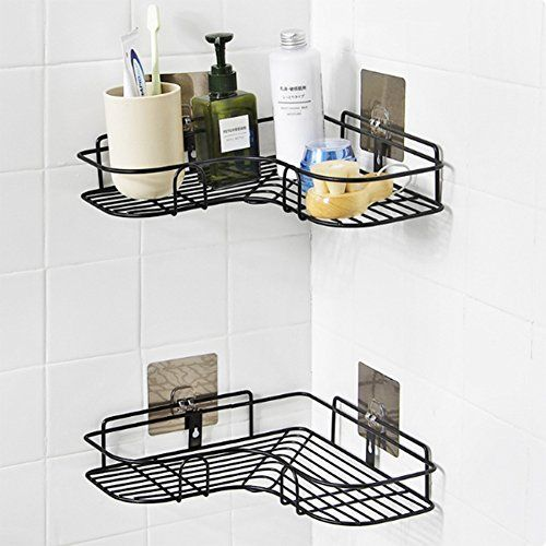Yiwa Traceless Corner Storage Rack Nail Free Shower Shelf Organizer For Kitchen Bathroom Decoration Bathroom Corner Storage Corner Shower Caddy Shower Shelves