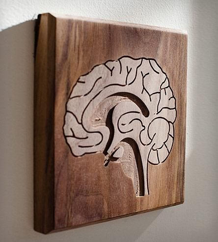 Brain Wood Art By Dave Marcoullier. Routed in solid walnut.