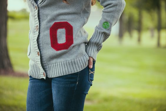 Ohio State University letterman cardigan available now at Buckeye Corner and Fanatics.