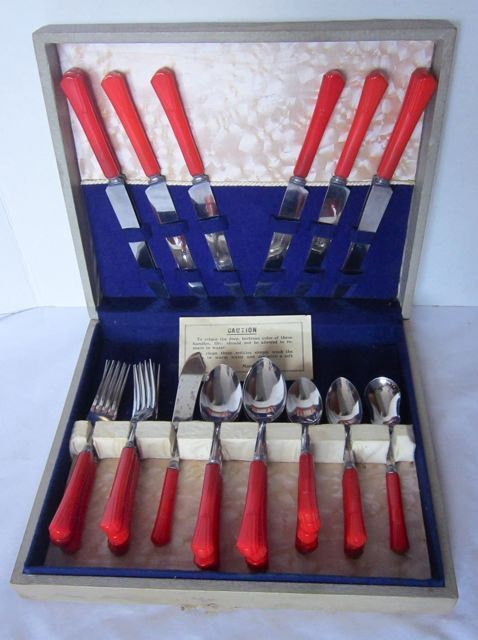 Details About 33 Pc Sta Brite Red Bakelite Art Deco