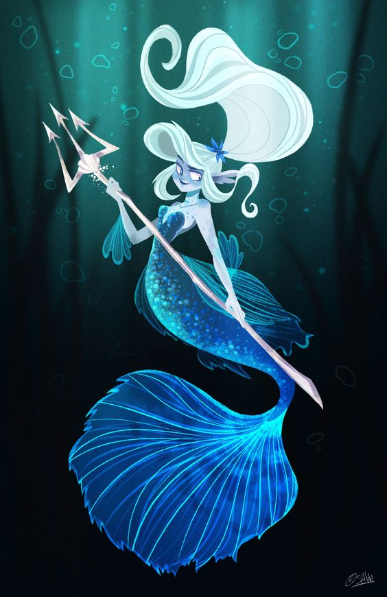 Here's my fighting fish inspired mermaid for this month's character design challenge!