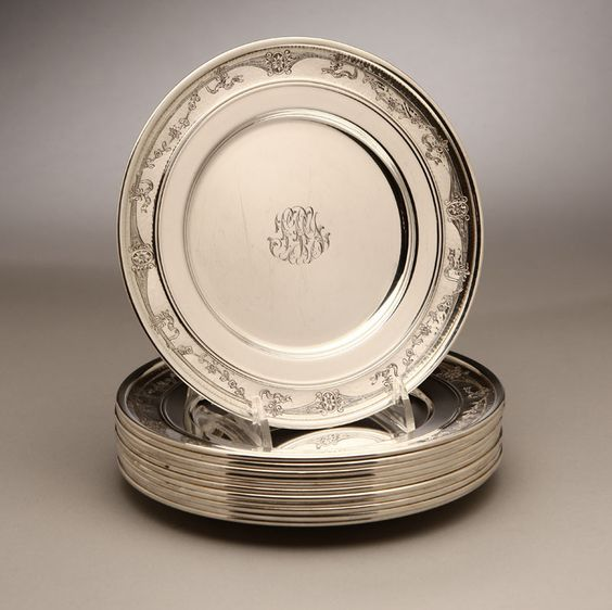 Lot# 1053 A set of twelve Gorham sterling silver bread plates. , est: $600/800 *Price Realized: $1,265.00