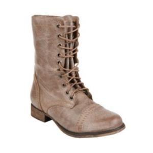 Distressed look combat boots
