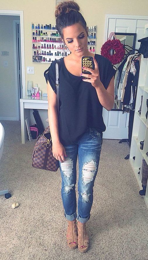 #fall #fashion ripped denim jeans black tshirt outfit༺✿♔R.D♔✿༺: