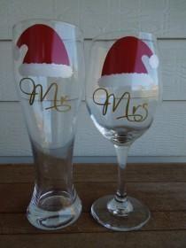 NATALE Mr e Mrs Wine Glass And Pilsner - Matrimonio, Doccia, anniversario, inaugurazione della casa del regalo