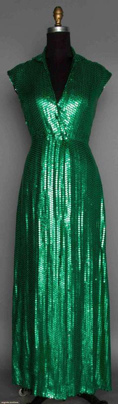 Halston, 1980s greens sequin dress