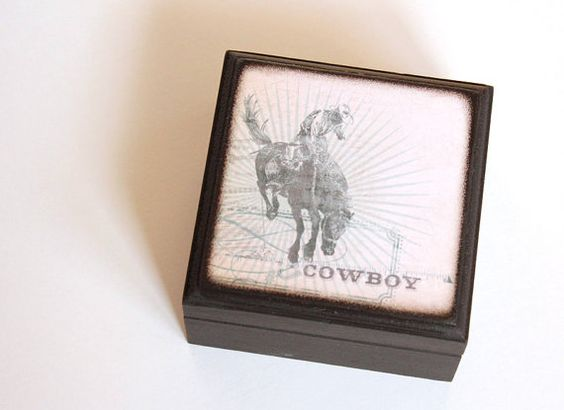 Cowboy  Square Wood Box by WaterfallTree on Etsy, $11.00
