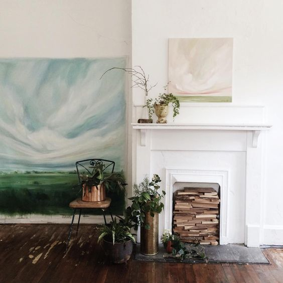 See that giant painting?  It's off to its true home today and I am going to miss its presence in my studio mightily.  Also, studio plant game strong.  #EJPainting30 #studioscenes
