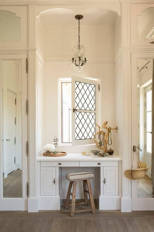 Built In Make Up Vanity With Blue And Grey Ikat Chair, Transitional, Closet    Babe Caves   Pinterest   Ikat, Vanities And Gray