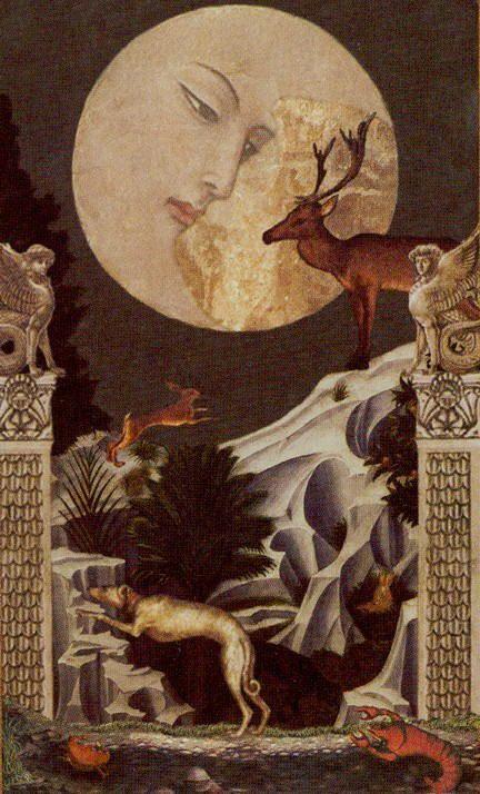 Golden Tarot- XVIII - The Moon: