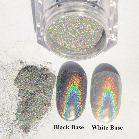 1g/Box Holographic Laser Powder Nail Glitter Rainbow Chrome Pigments Decoration…