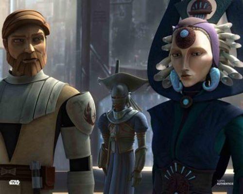 Satine Kryze and Obi Wan Kenobi star wars poster prints