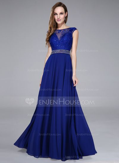 A-Line/Princess Scoop Neck Floor-Length Chiffon Tulle Prom Dress With Lace Beading Sequins (017041108)