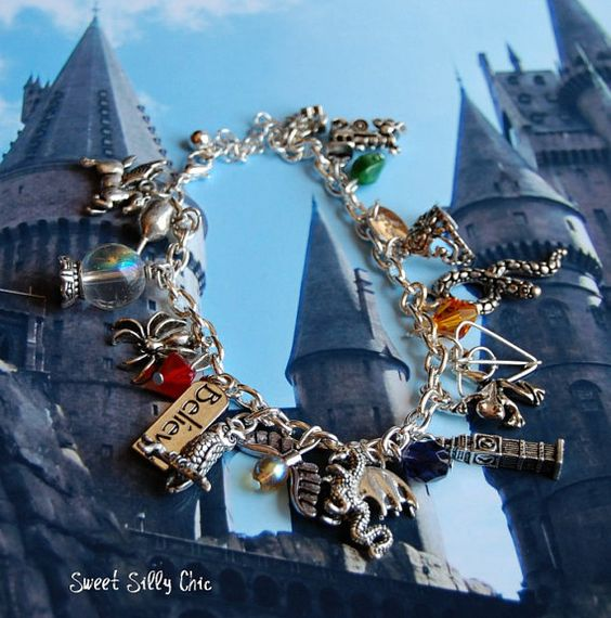 Harry Potter Charm Bracelet, Harry Potter Jewelry, Harry Potter Gift on Etsy, $54.00: