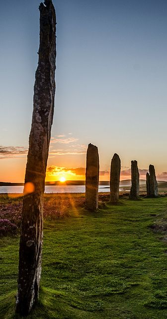 Sunset & the Stones, Standing Stones in Orkney, Scotland