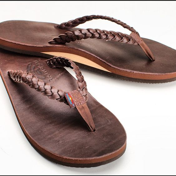 Twisted Sister Rainbow Sandals I need a new pair of brown leather flips flops, these are adorable!