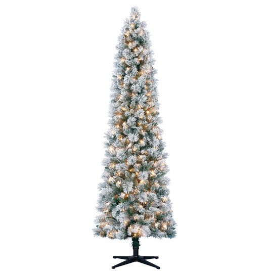 7 Ft Pre Lit Mixed Flocked Slim Artificial Christmas Tree Clear Lights By Ashland Slim Christmas Tree Pencil Christmas Tree Slim Artificial Christmas Trees